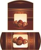 Caramelos de chocolate con las tuercas. Embalajes Fotos de archivo