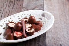 Caramelos de chocolate de muchas clases Foto de archivo