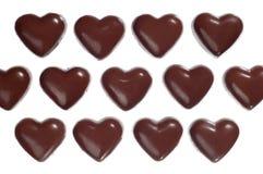 Caramelos de chocolate en forma de corazón Imagenes de archivo