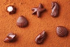Caramelos de chocolate en temas del mar en polvo de cacao Fotografía de archivo