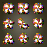 Caramelos de chocolate para el juego del partido tres ilustración del vector