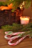 Caramelos del bastón debajo del árbol de navidad Fotografía de archivo