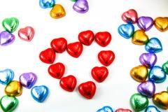Caramelos del corazón del chocolate Fotografía de archivo