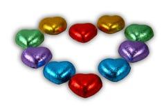 Caramelos del corazón del chocolate Fotos de archivo