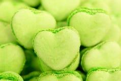 Caramelos en forma de corazón verdes Foto de archivo libre de regalías