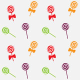 Caramelos inconsútiles modelo, fondo de la piruleta del vector Foto de archivo libre de regalías