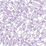 Caramelos púrpuras del vector en el fondo blanco Modelo inconsútil Fotos de archivo libres de regalías