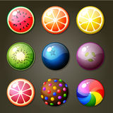 Caramelos redondos para el juego del partido tres Imagen de archivo