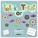 Caramelos, web de araña y las frases Foto de archivo libre de regalías