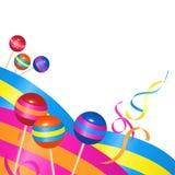 Caramelos y cintas Imagen de archivo libre de regalías
