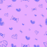 Caramelos y corazones inconsútiles Fotografía de archivo
