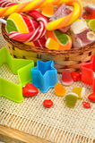 Caramels, lollipops, liquorice, turkish sweet in the basket Royalty Free Stock Photography