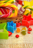 Caramels, lollipops, liquorice, turkish sweet in the basket Stock Photography