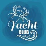 Caranguejo branco do yacht club da rotulação Foto de Stock Royalty Free