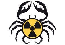 Caranguejo com sinal radioativo,   ilustração royalty free