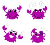 Caranguejo cor-de-rosa em vários poses Fotos de Stock