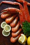 Caranguejo e camarão com limão e ervas Fotografia de Stock