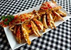 Caranguejo fritado no caril amarelo, caril salteado do caranguejo Fotografia de Stock Royalty Free
