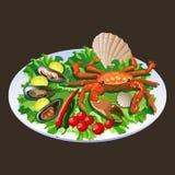 Caranguejo na salada Fotos de Stock Royalty Free
