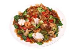 Caranguejo roasted delicioso com vegetais Foto de Stock