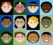 Caras 2 de los muchachos Fotografía de archivo