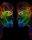 Caras abstractas del arco iris del diseño gráfico Fotografía de archivo libre de regalías