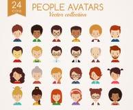 Caras adultas jovenes Sistema de avatares del vector Imagenes de archivo