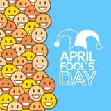 Caras amarillas Jester Fool Day April de la sonrisa ilustración del vector