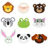 Caras animais ajustadas Imagens de Stock Royalty Free
