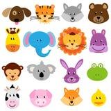 Caras animais do jardim zoológico do vetor ajustadas Fotos de Stock