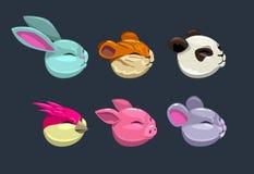 Caras animais redondas dos desenhos animados Foto de Stock