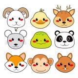 Caras animales felices Foto de archivo libre de regalías