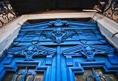Caras azules en la puerta, Odessa imagen de archivo