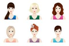Caras bonitas fijadas, vector de la mujer Foto de archivo