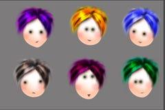 Caras bonitos dos desenhos animados Fotografia de Stock