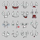 Caras cómicas de la historieta con diversas emociones Ilustración del vector libre illustration