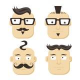 Caras con los bigotes y los vidrios Foto de archivo libre de regalías