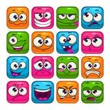 Caras cuadradas coloridas divertidas fijadas stock de ilustración