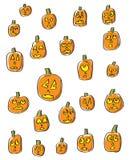 Caras da abóbora dos desenhos animados Fotos de Stock