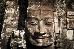 Caras da Buda do templo de Bayon em Angkor Wat cambodia Fotos de Stock Royalty Free