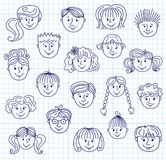 Caras da garatuja das crianças Imagens de Stock Royalty Free