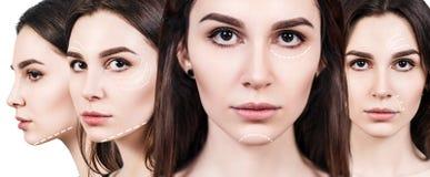 Caras da jovem mulher com setas de levantamento Fotos de Stock