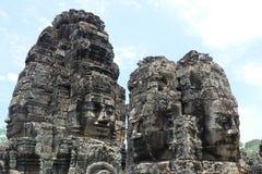 Caras da rocha no templo de Bayon, Angkor, Camboja imagem de stock royalty free