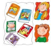 Caras das crianças, com livros Foto de Stock Royalty Free