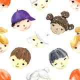 Caras das crianças da aquarela Imagens de Stock Royalty Free