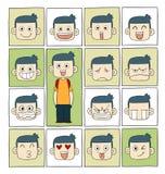 Caras das emoções dos homens Imagem de Stock
