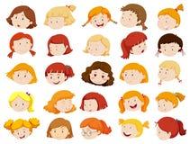 Caras das meninas em emoções diferentes Fotos de Stock Royalty Free