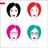 Caras das mulheres - ilustração do vetor Foto de Stock