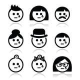 Caras de grito dos povos - homem, mulher, ícones do bebê ajustados Fotografia de Stock Royalty Free