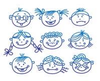 Caras de la historieta del bebé Imagenes de archivo